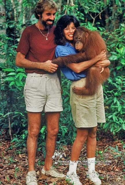 David & Evelyn working on the Orangutan Project in Borneo in 1987